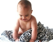 Swaddling Flannel Blanket - White with Black Vintage Keys - Oversized Baby Wrap