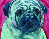Pug Dog - Original Watercolor Painting, Framed - Ranlett