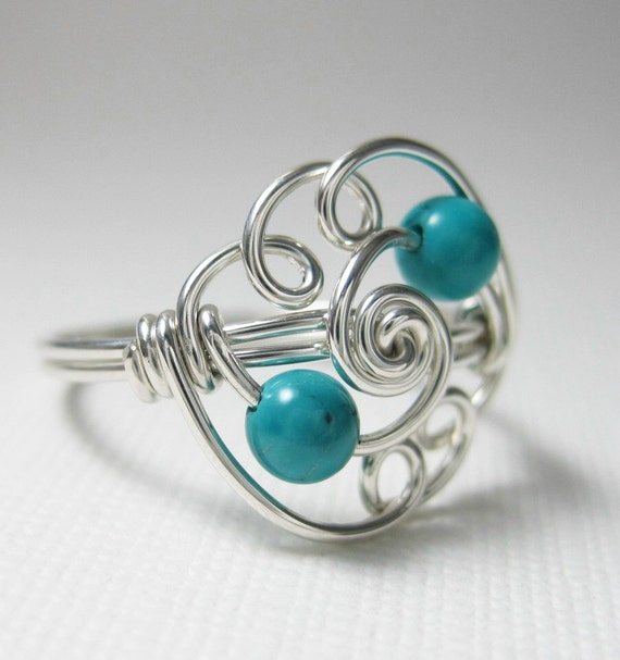 Genuine Turquoise Ring - Cloud  - Wire Wrapped Ring Turquoise and Sterling Silver