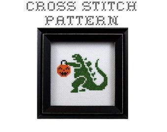 DIY Trick or Treat Godzilla  - .pdf Original Cross Stitch Pattern - Instant Download
