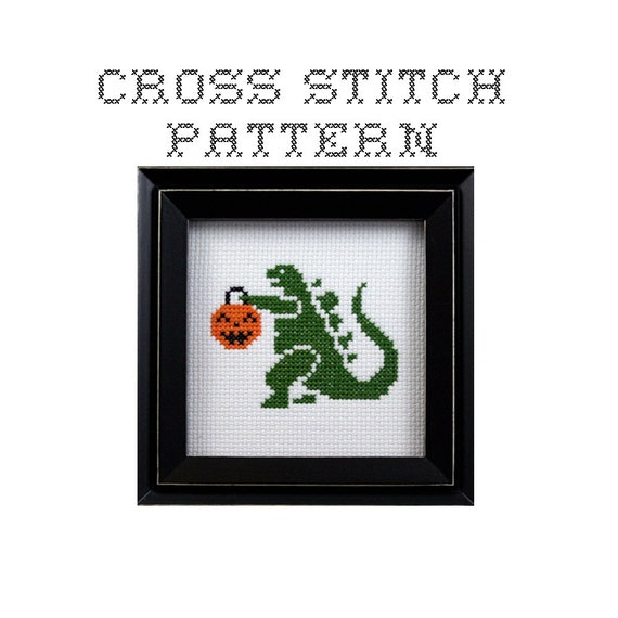 DIY Trick or Treat Godzilla  - .pdf Original Cross Stitch Pattern - Instant Download