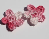 Tiny Flower Crochet Accessories, Embellishments, Crochet Applique, DIY, Gift Wrap Embellishment in Shaded Pink