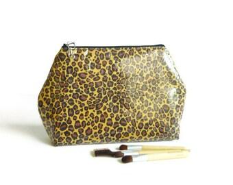Makeup Bag Travel Pouch Laminated Flat bottom, Zipper Closure, Medium - weBlack Brown Mustard Cheetah Animal Print