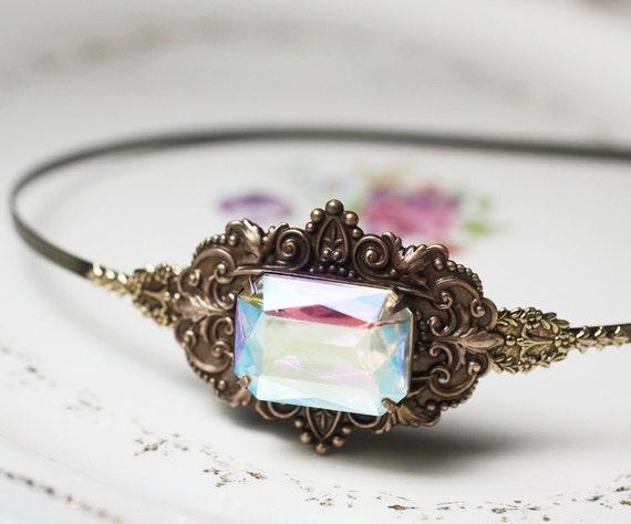 Jewel headband brass bridal vintage victorian iridescent pastel