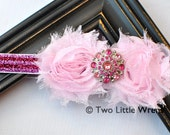 Zoe Luxe Glitter Striped Flower Headband - Princess Pink Stripes with Jewel Center - Baby Headband to Adult Headband