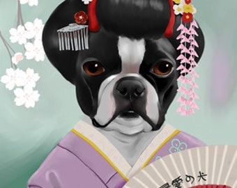 The Geisha Girl - Boston Terrier Art Print by Brian Rubenacker