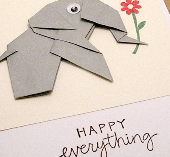Origami Happy Everything Elephant card