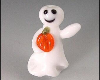 Ghost with Pumpkin Lampwork Bead