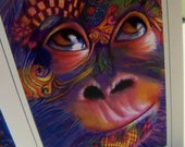 greeting card print of original art-  Silly Monkey  Zentangle