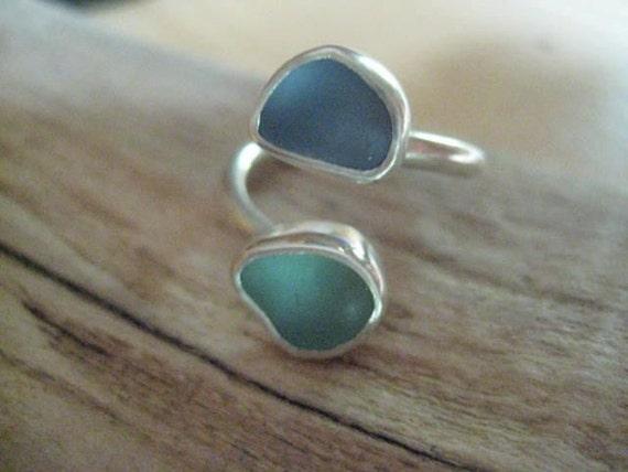 Sea Path...blue and aqua sea glass ring