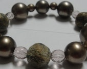 Taupe beads and Taupesparkling Beaded Stretch bracelet