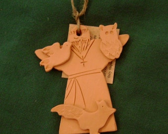 St Francis Ceramic clayChristmas  ornament tile