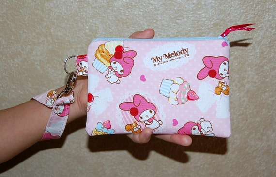 Wristlet Purse with 2 Interior Pockets - Handcrafted from My Melody and Cupcakes Canvas Fabric