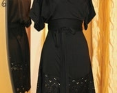 black evening Kimono mini Dress / laser cut dress