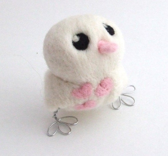Sale Needlefelted White Bird with Baby Pink Hearts