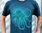 Black Aqua Octopus - Mens Tshirt - Tee - American Apparel