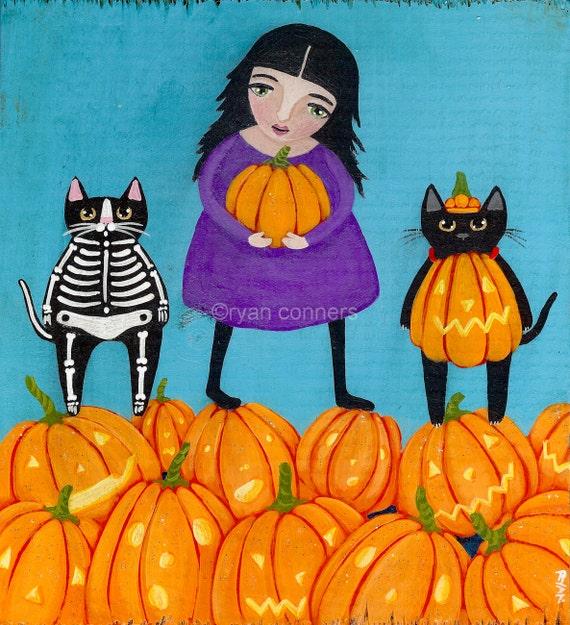 RESERVED Picking a Halloween Pumpkin Original Cat Folk Art Painting