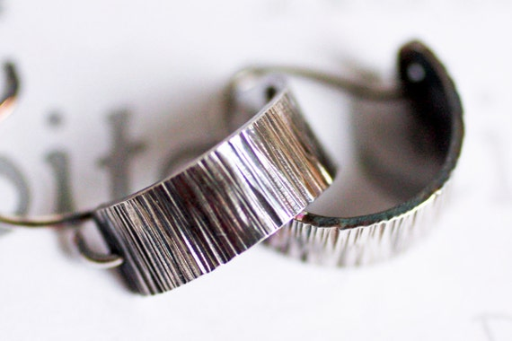 Sterling Silver Bark Mini Hoop Earrings simple handmade artisan jewelry