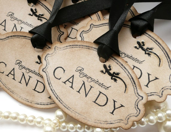 Halloween Tags - Candy Bag Decorations - GLOSS effect reptile LOOK closely... Set of 8