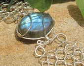 Blue Oval Labradorite and Chain Maille Bracelet - Sterling