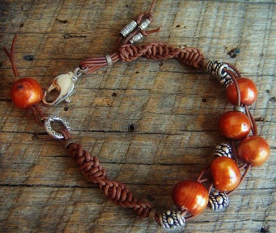 Copper Pearls and Knotted Aged Leather Beaded Bracelet