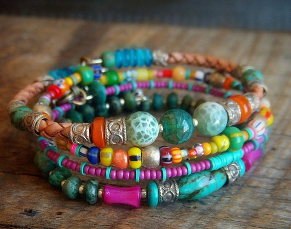 Turquoise, Agate, Shell and African Beaded Leather Charm Bangle Set