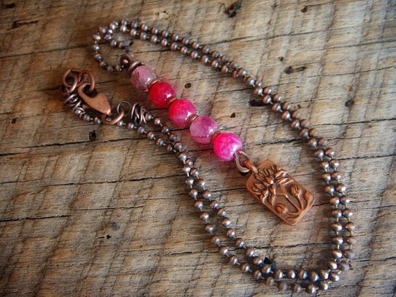 Lotus and Agate Stacked Copper Beaded Necklace