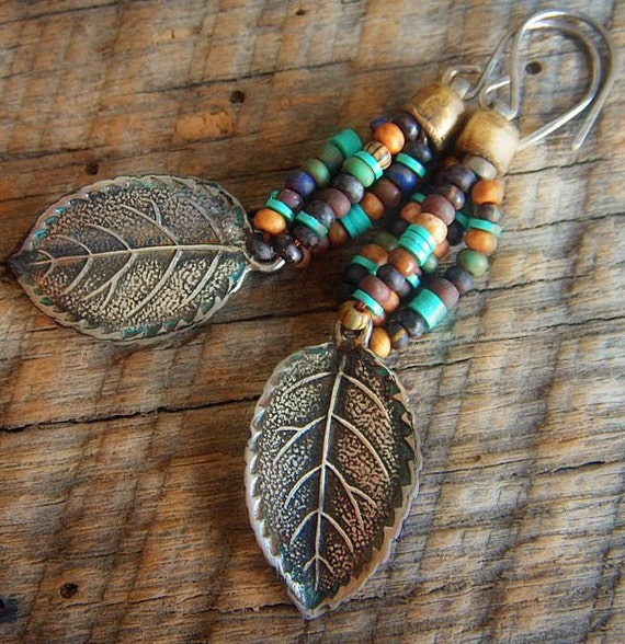 Silver Fall Leaf and Old World Glass Beaded Earrings