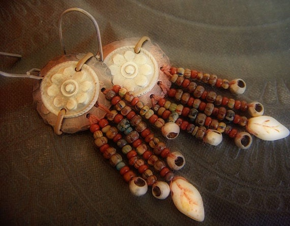 Turkman Flower Gilet Plates, Copper Discs and Glass Beaded Leaf Fall Earrings