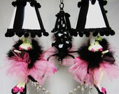 Pink and Black TuTu Frogs Chandelier