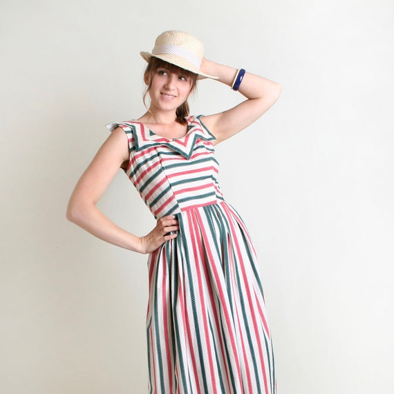 RESERVED - Vintage 1950s Dress - Candy Cane Striped Carnival Pointy Collar Tea Length Dress - Small