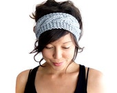 Cable Knit Headband in Dove Grey 100% Merino Wool
