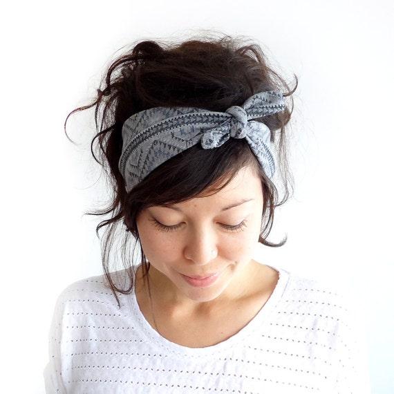 LAST ONE Tie Up Headscarf Grey Tribal