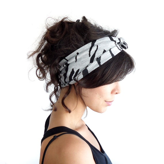 Tie Up Headscarf Grey Black Tiger Stripe