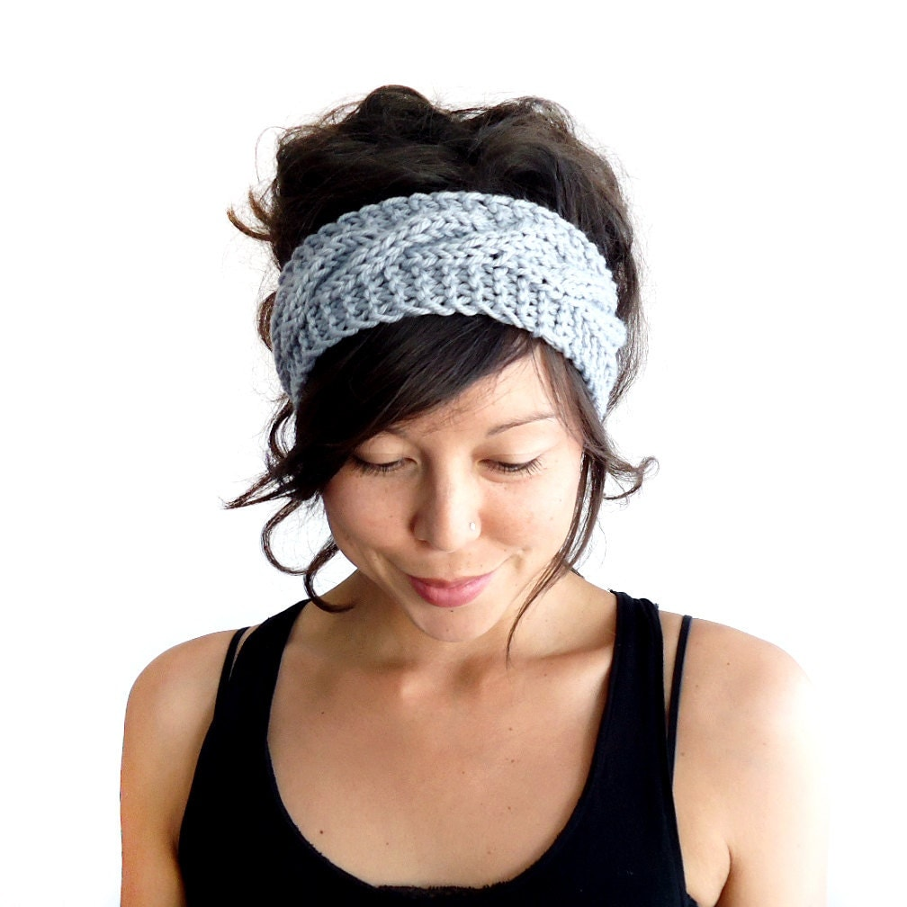 cable knit headband in dove grey 100 merino wool