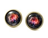 Galaxy Stud Earrings,Astronomy Jewelry,Space Nebula Earrings,Space Jewelry,Universe Earrings,Black Pink Earrings (E062)