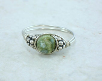 Sterling Silver Rhyolite and Bali Bead Ring
