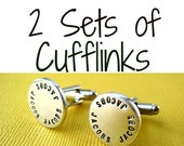 2 Sets of Cufflinks - Any style - Personalized Custom Hand stamped Cuff links