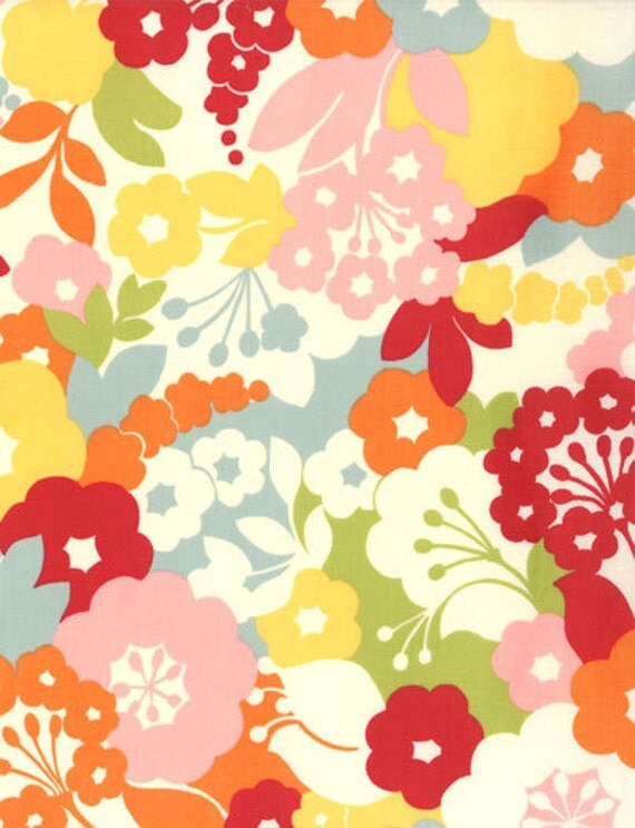 LAST ONE Oh Deer Japanese fabric by Momo for Moda, Blossoms in Creamsicle-1 Yard