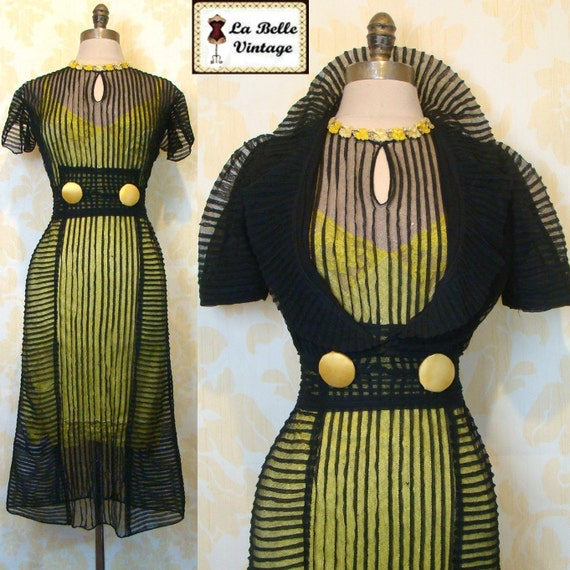 RESERVED Final Payment: Vintage 30s BUMBLE BEE Black Sheer Net Chiffon Art Deco Dress Bolero Slip Set S
