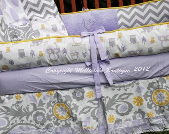 Custom Wisteria(Lavender) Corn Yellow & Storm Grey Boutique Crib Bedding Complete 4-Piece Set YOUR CHOICE