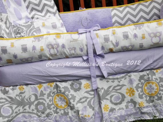 Items Similar To Custom Purple Lavender Yellow Grey Owl Damask Chevron Boutique Crib Bedding
