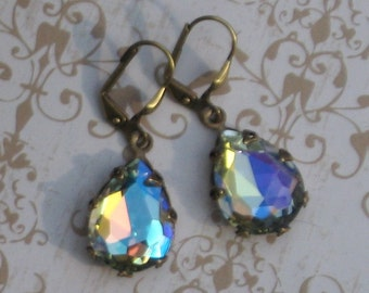 Earrings Aurora Borealis Earrings Crystal Wedding Bridal READY TO SHIP