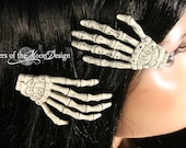 Skeleton hands hair clips with painted Plain nails pair -- Sisters of the Moon