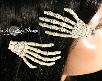 Skeleton hands hair clips barrette with Plain nails pair spooky gothic halloween costume skull punk rockabilly  -- Sisters of the Moon