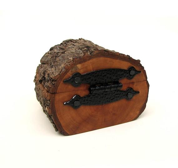 Hobbiton Inspired - Rustic Natural Bark Bradford Pear Log Wooden Box by Tanja Sova