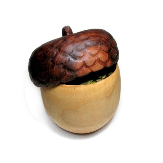 Acorn - Organic Natural Walnut Magnolia Rustic Wooden Pumpkin or Nuts or Olive Serving Tray or Trinket Dish by Tanja Sova
