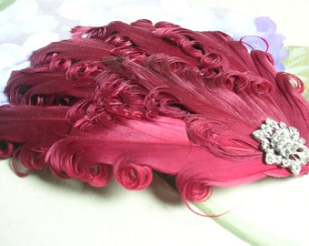 New handmade 1920s inspired burgandy red feather fascinator