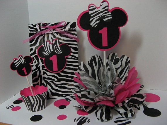 Minnie Mouse zebra print party hat by missdaisyw on Etsy