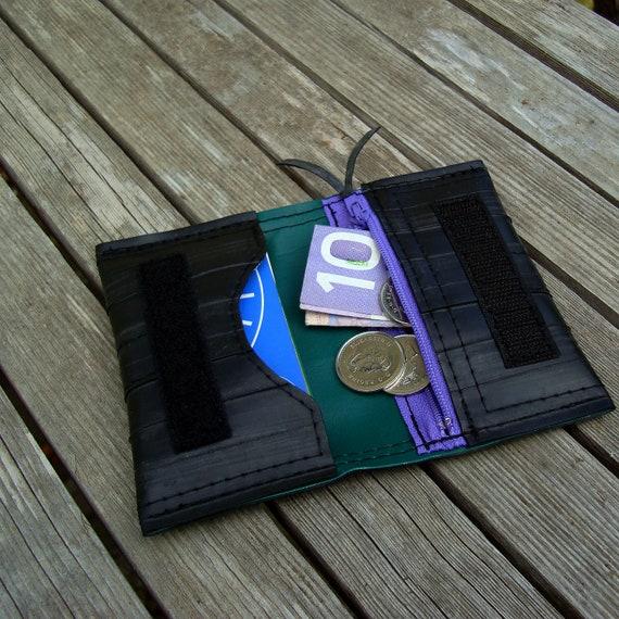 Recycled bike inner tube wallet card holder